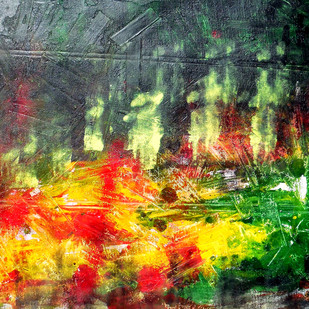 abstract 32 by Santhosh CH, Abstract Painting, Acrylic on Canvas, Green color