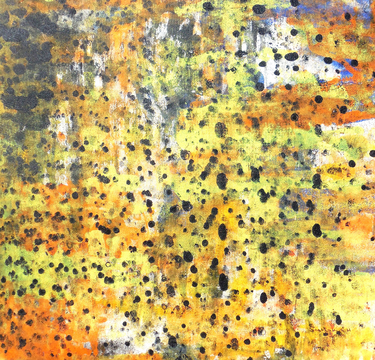 Abstract 33 by Santhosh CH, Abstract Painting, Acrylic on Canvas, Yellow color
