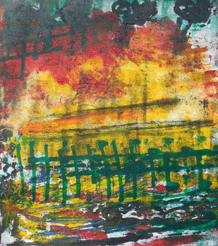 abstract 30 by Santhosh CH, Abstract Painting, Acrylic on Canvas, Green color