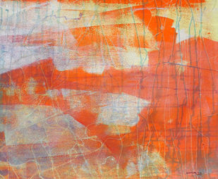 abstract 24 by Santhosh CH, Abstract Painting, Acrylic on Canvas, Orange color