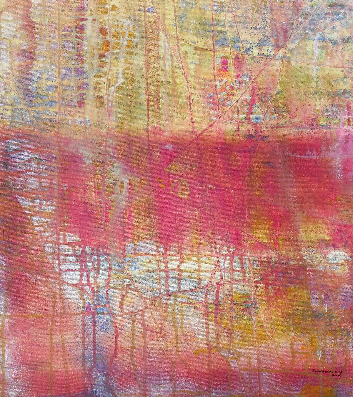 Abstract 17 by Santhosh CH, Abstract Painting, Acrylic on Canvas, Brown color