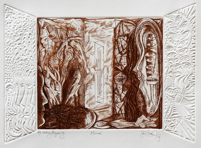 Mirror by Hanuman Kambli, Abstract Printmaking, Etching on Paper, Gray color