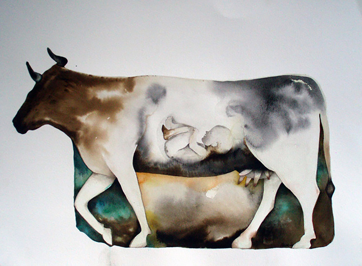 Untitled by Milan Desai, Impressionism Painting, Watercolor on Paper, Gray color