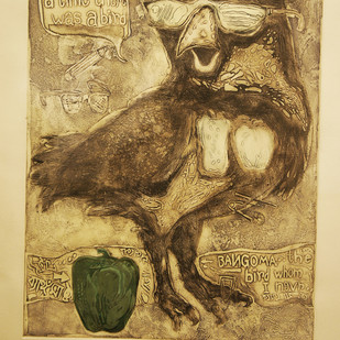 The Wise Bird by Parag Roy, Fantasy Printmaking, Etching on Paper, Beige color