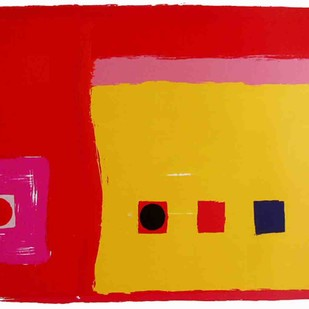 Untitled by Bhaskar Hande, Minimalism Printmaking, Serigraph on Paper, Red color