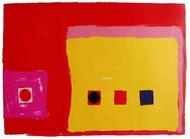 Untitled by Bhaskar Hande, Minimalism Printmaking, Serigraph on Paper, Red color