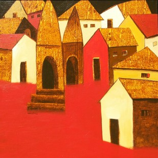 Village by Nagesh Ghodke, Decorative Painting, Acrylic on Canvas, Red color