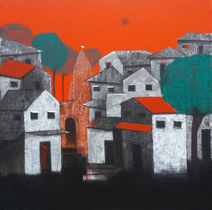 Village (Black and Red) by Nagesh Ghodke, Decorative Painting, Acrylic on Canvas, Gray color