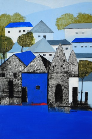Village Blue by Nagesh Ghodke, Impressionism Painting, Acrylic on Canvas, Blue color