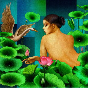 The Grace of a Swan by Amiya Bhattacharya, Expressionism Painting, Mixed Media on Canvas, Green color