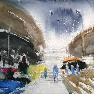 banaras by Santosh Keshari , Minimalism Painting, Watercolor on Paper, Gray color