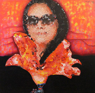 Her Floral Escapades by Sangeeta Singh, Decorative Painting, Oil & Acrylic on Canvas, Brown color