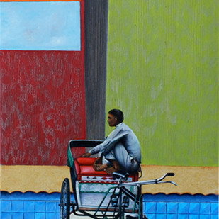 After the Show by Sangeeta Singh, Surrealism Painting, Oil & Acrylic on Canvas, Green color