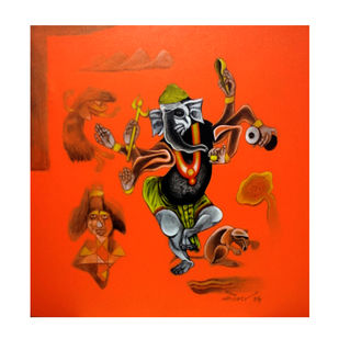 Ganesha by Mahesh Pal Gobra, Expressionism Painting, Acrylic on Canvas, Orange color