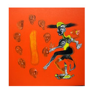 Dance by Mahesh Pal Gobra, Expressionism Painting, Acrylic on Canvas, Orange color