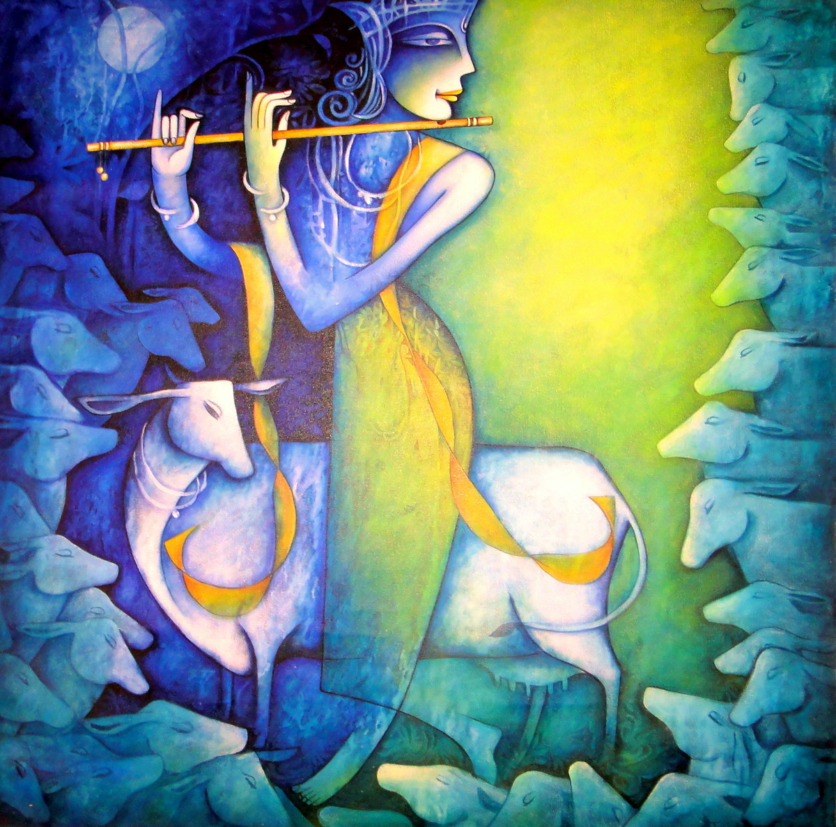 Untitled by Rajat Nandi, Traditional Painting, Acrylic on Canvas, Blue color
