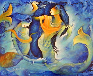 Untitled by Rajat Nandi, Fantasy Painting, Acrylic on Canvas, Blue color