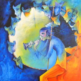 Untitled by Rajat Nandi, Expressionism Painting, Acrylic on Canvas, Blue color
