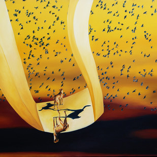 Euphoria by Sangeeta Singh, Surrealism Painting, Oil on Canvas, Brown color