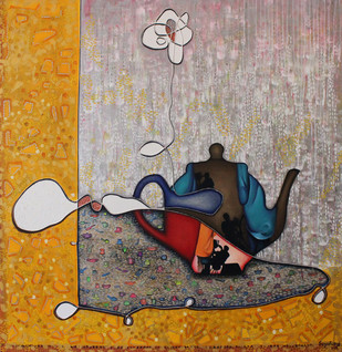 Tea Side Story by Sangeeta Singh, Surrealism Painting, Mixed Media on Canvas, Brown color
