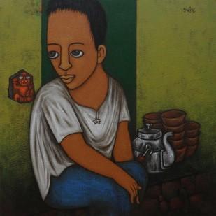 TEA BOY - II Digital Print by Hitendra Singh Bhati,Expressionism