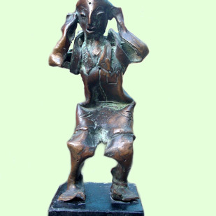punishment by Ranjit Kumar Bor, Expressionism Sculpture | 3D, Bronze, Cyan color