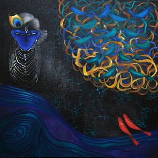 Karma II by Bharti Singh, Expressionism, Expressionism Painting, Mixed Media on Canvas, Blue color