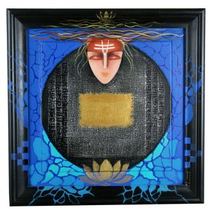Enlightened by Bharti Singh, Decorative Painting, Mixed Media, Blue color