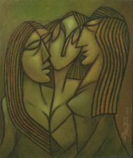 Life On Earth - 3 by Gautam Paul, Expressionism Painting, Acrylic on Canvas, Green color