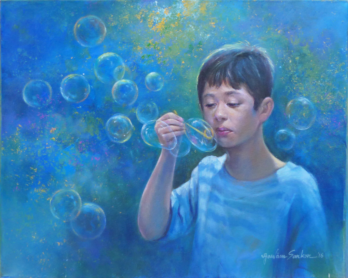 Boy making bubbles by Gautam Sarkar, Realism Painting, Acrylic on Canvas, Blue color