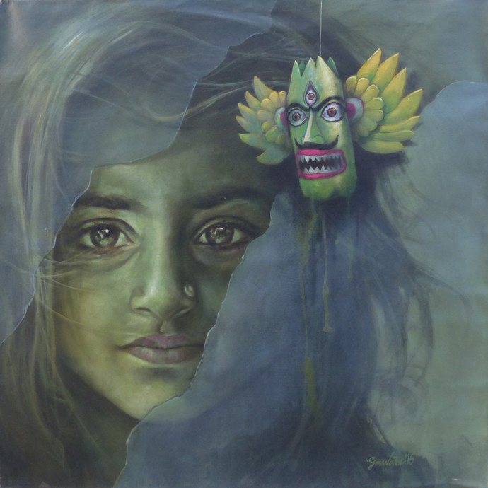 Girl by Gautam Sarkar, Realism Painting, Acrylic on Canvas, Green color