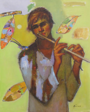 Flute Boy by Ajay Deshpande, Expressionism Painting, Oil on Canvas, Beige color