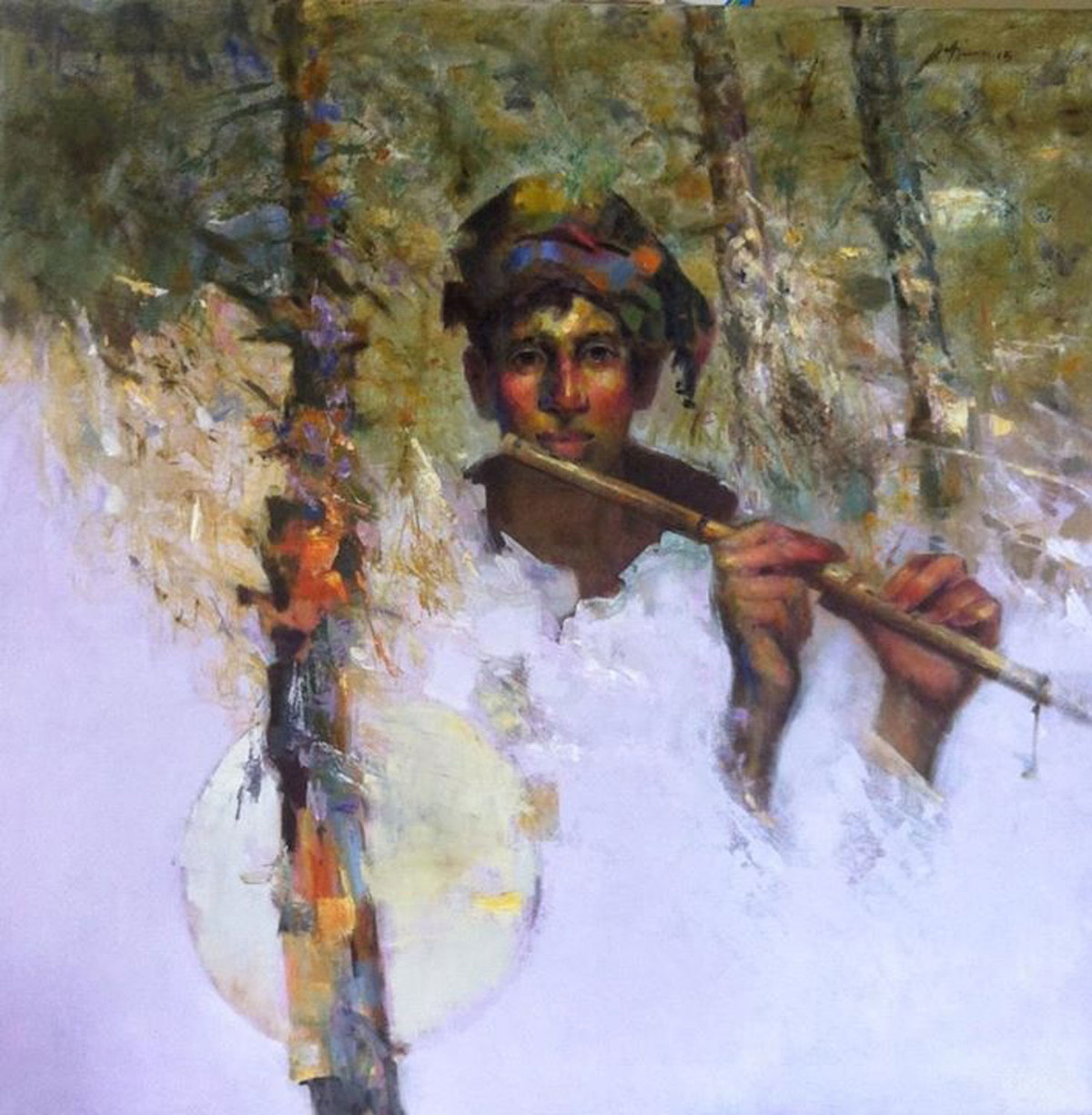 Flute Boy by Ajay Deshpande, Expressionism Painting, Acrylic on Canvas, Pink color