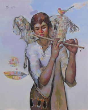 Flute Boy by Ajay Deshpande, Expressionism Painting, Oil on Canvas, Brown color