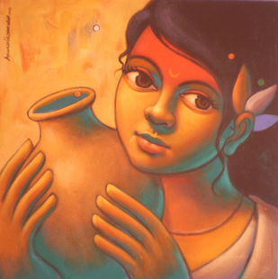 Girl with Pot by Avinash Deshmukh, Traditional Painting, Acrylic on Canvas, Brown color
