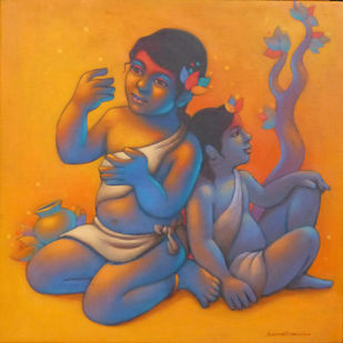 Two Girls by Avinash Deshmukh, Traditional Painting, Acrylic on Canvas, Brown color