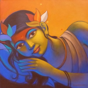 Girl by Avinash Deshmukh, Traditional Painting, Acrylic on Canvas, Brown color