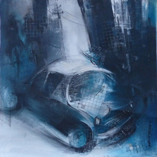 Car by Bharat Das, Impressionism Painting, Acrylic on Canvas, Blue color
