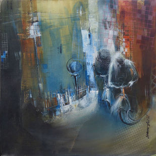 Untitled by Bharat Das, Impressionism Painting, Acrylic on Canvas, Gray color