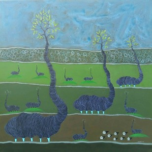 My Nature by Vishwas M Bhat, Surrealism Painting, Acrylic on Canvas, Green color
