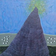 Tree from Ancient by Vishwas M Bhat, Surrealism Painting, Acrylic on Canvas, Blue color