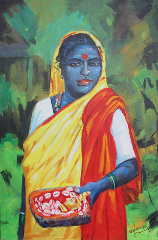 Astrology women by bhandare m k, Impressionism Painting, Acrylic on Canvas, Green color