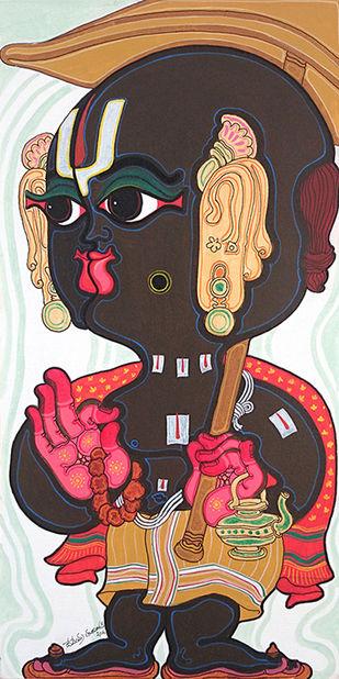 Dashavatara: Vamana by Devendra Achari, Traditional Painting, Acrylic on Canvas, Brown color