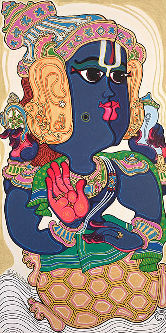 Dashavatara : Kurma by Devendra Achari, Traditional Painting, Acrylic on Canvas, Brown color