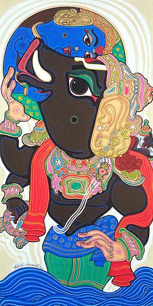 Dashavatara : Varaha by Devendra Achari, Traditional Painting, Acrylic on Canvas, Brown color