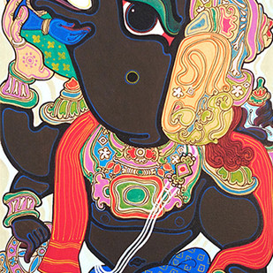 Dashavatara : Varaha by Devendra Achari, Traditional Painting, Acrylic on Canvas, Brown color