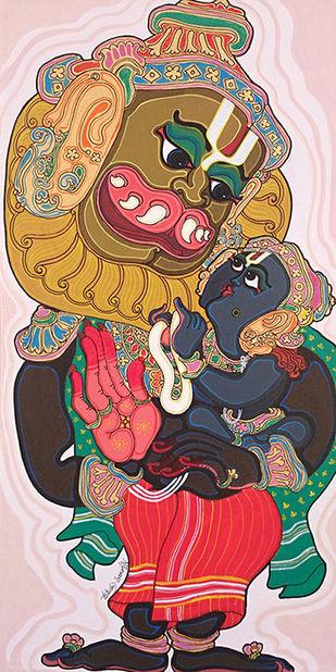 Dashavatara : Narasimha by Devendra Achari, Traditional Painting, Acrylic on Canvas, Brown color