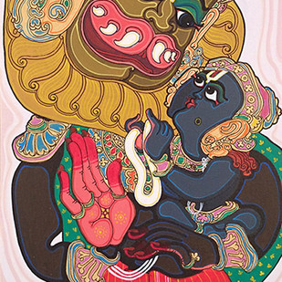 Dashavatara : Narasimha by Devendra Achari, Traditional Painting, Acrylic on Canvas, Brown color