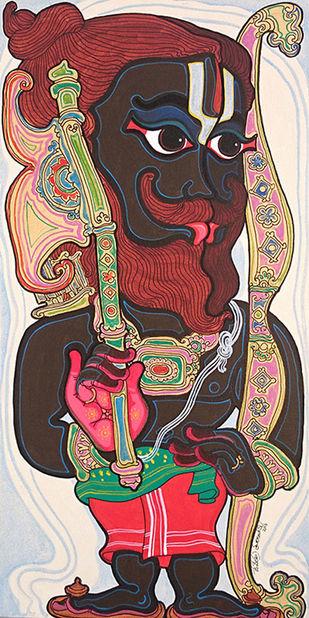 Dashavatara : Parashurama by Devendra Achari, Traditional Painting, Acrylic on Canvas, Brown color