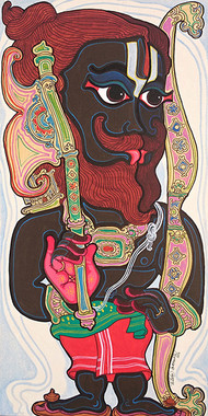 Dashavatara : Parashurama by Devendra Achari, Traditional Painting, Acrylic on Canvas, Brown color